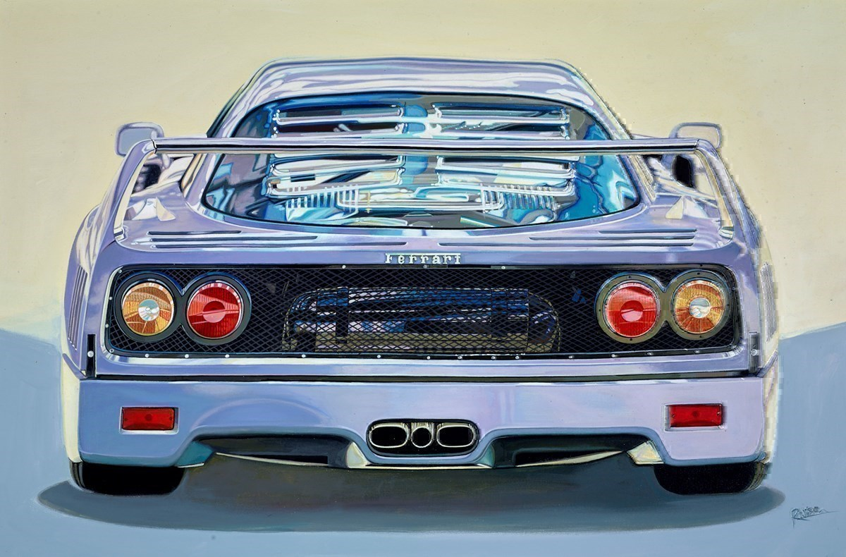 The 1988 Ferrari F40 by Roz Wilson -  sized 36x24 inches. Available from Whitewall Galleries